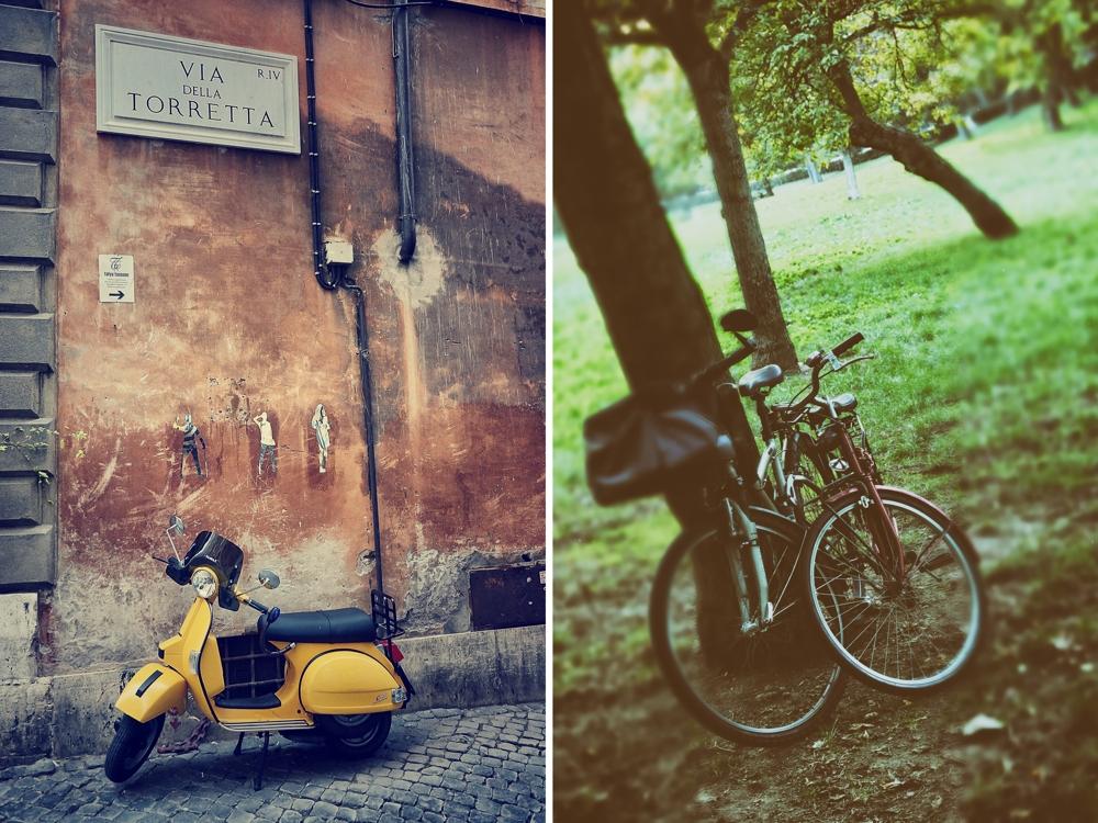 Means of transportation in Via della Torretta and Villa Borghese
