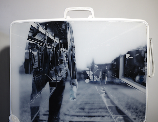 In My Bag  - 2013  Old Bag and Print on Plexiglass  60x40x16