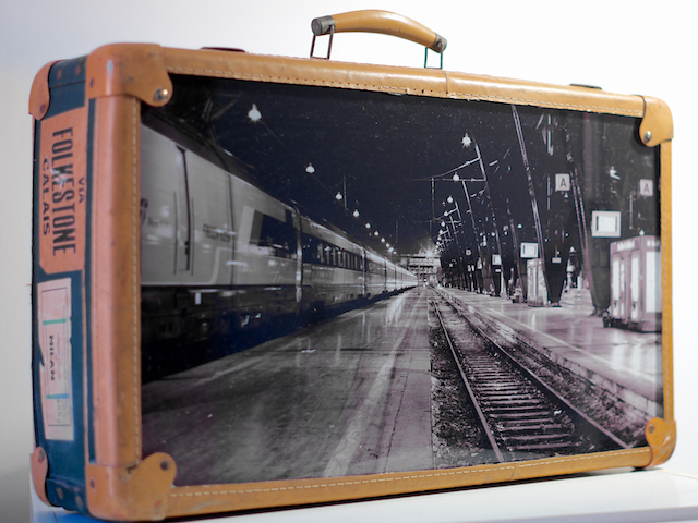 From Folkestone to Calais  - 2013  Old Bag and Print on Plexiglass  60x40x16